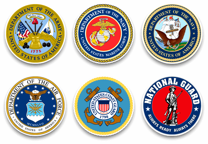 Seals of all  branches of the US Armed Forces